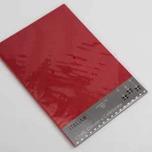 Red A4 Low Shed Glitter Cardstock Premium Quality - 250gsm