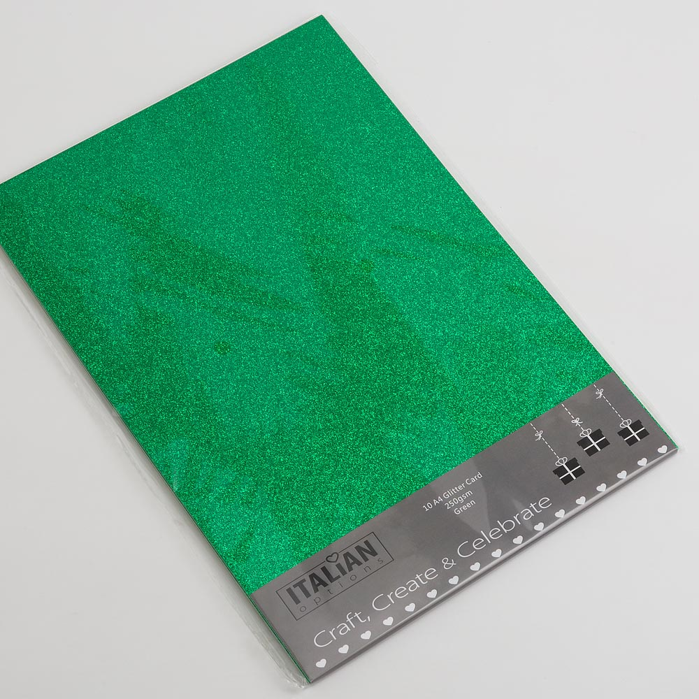 Emerald Green A4 Low Shed Glitter Cardstock Premium Quality - 250gsm - Button Blue Crafts