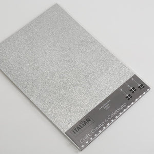Silver A4 Low Shed Glitter Cardstock Premium Quality - 250gsm