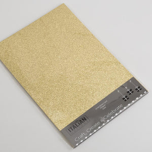 Gold A4 Low Shed Glitter Cardstock Premium Quality - 250gsm - Button Blue Crafts