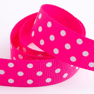 Shocking Pink - Polka Dot Grosgrain Ribbon - 15mm, 25mm - White Dots
