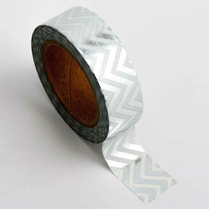 Silver Chevron - Foil Washi Tape 15mm x 10m Repositionable Adhesive Roll