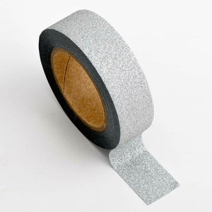 Silver - Glitter Washi Tape 15mm x 10m Repositionable Adhesive Roll