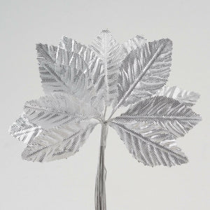 Artificial Satin Leaf Stems 35mm or 65mm - Silver - Bunch of 12 For Wedding, Home, Hair and Kids Crafts