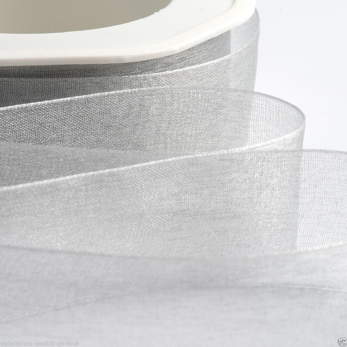 Silver - Woven Edge Organza - Sheer Ribbon - 4 Widths