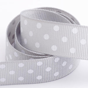 Silver - Polka Dot Grosgrain Ribbon - 15mm, 25mm - White Dots - Button Blue Crafts