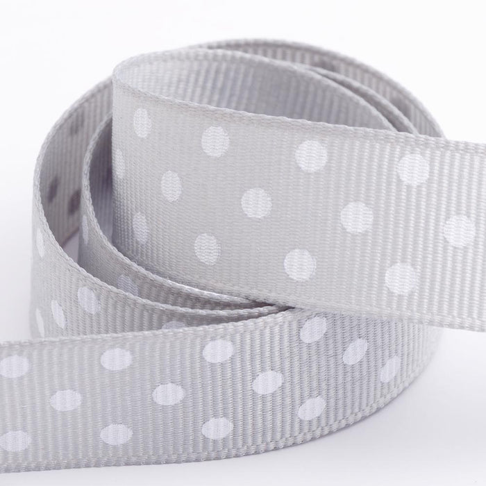 Silver - Polka Dot Grosgrain Ribbon - 15mm, 25mm - White Dots