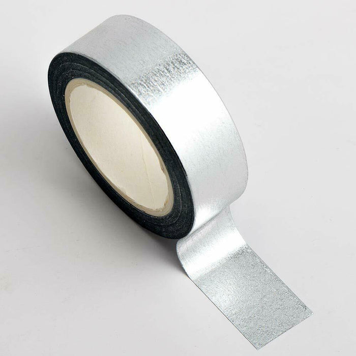 Silver - Foil Washi Tape 15mm x 10m Repositionable Adhesive Roll
