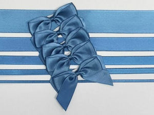Smoke Blue - Satin Ribbon & Self Adhesive Bow Multipack - 5 x 1m Mixed Width + 5 x 5cm Bows