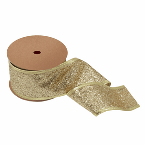 Gold Glitter Ribbon - 10m x 63mm - Christmas Crafts, Christmas Gift Wrapping, Children's Crafts
