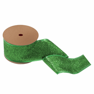 Green Glitter Ribbon - 10m x 63mm - Christmas Crafts, Christmas Gift Wrapping, Children's Crafts