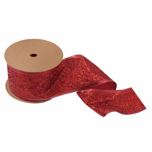 Red Glitter Ribbon - 10m x 63mm - Christmas Crafts, Christmas Gift Wrapping, Children's Crafts