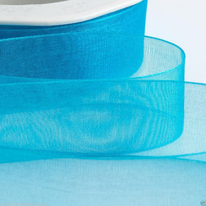Turquoise - Woven Edge Organza - Sheer Ribbon - 4 Widths