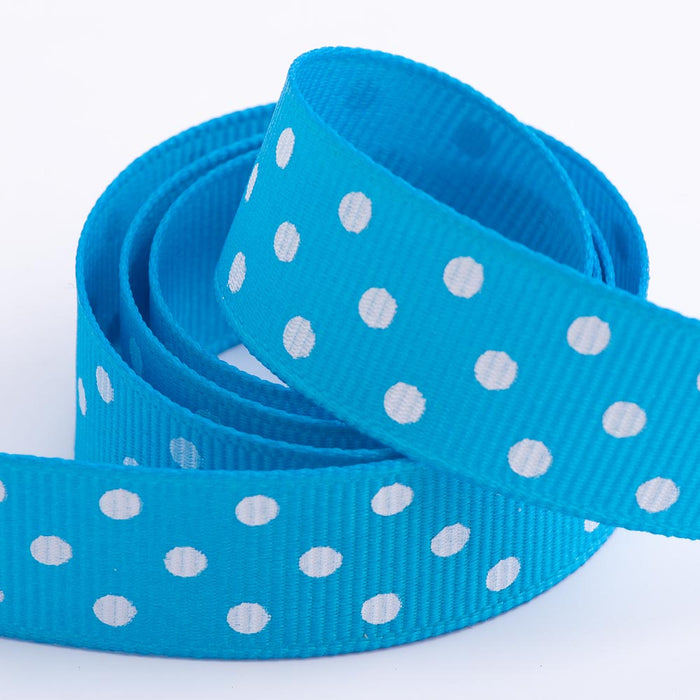 Turquoise - Polka Dot Grosgrain Ribbon - 15mm, 25mm - White Dots