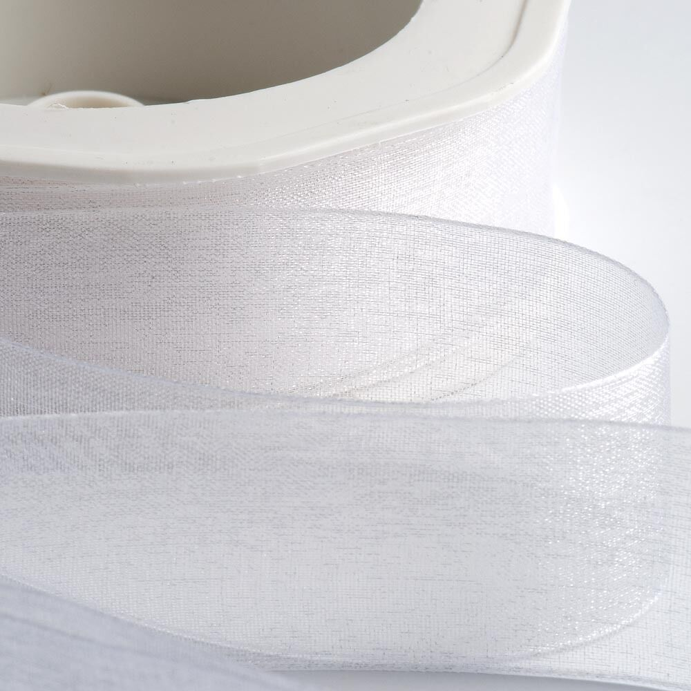 White - Woven Edge Organza - Sheer Ribbon - 4 Widths