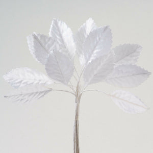 Artificial Miniature Satin Leaf Stems - White - Bunch of 12 For Wedding, Home, Hair and Kids Crafts