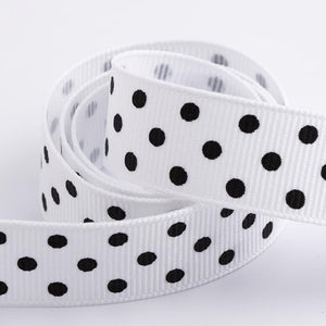 White - Polka Dot Grosgrain Ribbon - 15mm, 25mm - Black Dots