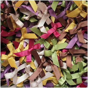 Woodlands Mix - Miniature Pre Tied Bows - 30 x 3cm x 6mm Satin Ribbon