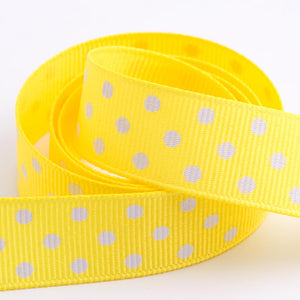 Yellow - Polka Dot Grosgrain Ribbon - 15mm, 25mm - White Dots