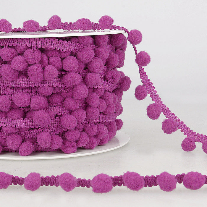 La Stephanoise Purple Pom Pom Trim - 10mm