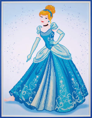 Cinderella - Vervaco Disney Princess Large Diamond Rhinestone Painting Kit - Button Blue Crafts