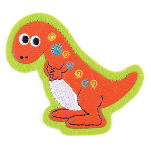 Orange Dinosaur Motif Iron or Sew On Applique - CFM2/032 - Button Blue Crafts