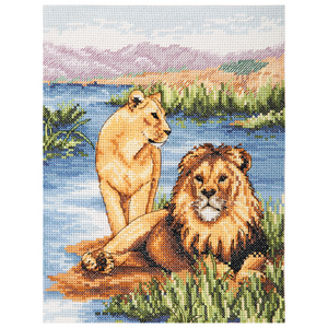 Anchor Counted Cross Stitch Kit - Lions - African Wildlife - Button Blue Crafts