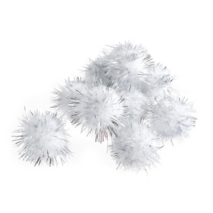 Trimits Silver White Tinsel Pom Poms - Medium 25mm - Button Blue Crafts