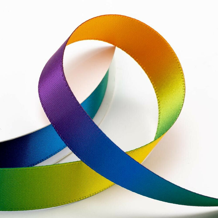 25mm Bright Rainbow Ribbon Double Sided Satin - Fantasy Unicorn, Card Making, Crafts, Scrapbooking