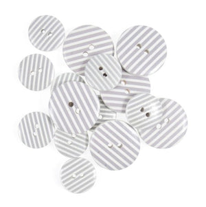 Grey & White Stripes Wooden Craft Buttons - Pack of 15 - CFB042 - Button Blue Crafts