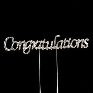 Congratulations Diamante Rhinestone Cake Topper - Silver - Button Blue Crafts
