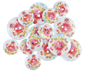 Rose & Rose Hips Floral Wooden Craft Buttons - Pack of 15 - CFB001 - Button Blue Crafts