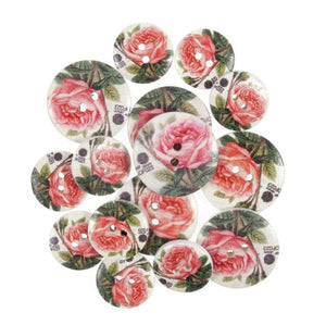 Vintage Pink Rose Wooden Craft Buttons - Pack of 15 - CFB007 - Button Blue Crafts