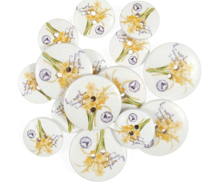 Daffodils & Script Wooden Floral Craft Buttons - Pack of 15 - CFB012