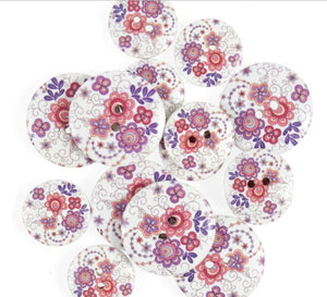 Pink / Lilac Retro Floral Wooden Craft Buttons - Pack of 15 - CFB020 - Button Blue Crafts