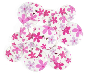 Lilac & Pink Daisy Retro Floral Wooden Craft Buttons - Pack of 15 - CFB046 - Button Blue Crafts