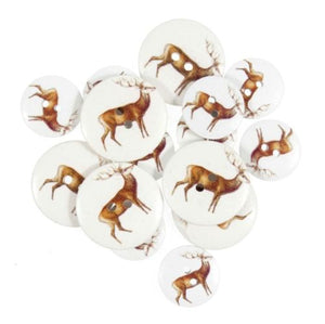 Red Deer Stag - British Wildlife Wooden Craft Buttons - Pack of 15 - CFB051 - Button Blue Crafts