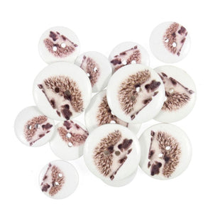 Hedgehog - British Wildlife Wooden Craft Buttons - Pack of 15 - CFB062 - Button Blue Crafts