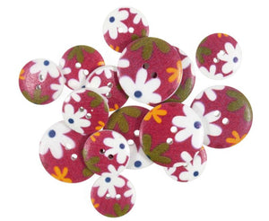 Burgundy Retro Floral Wooden Craft Buttons - Pack of 15 - CFB071 - Button Blue Crafts