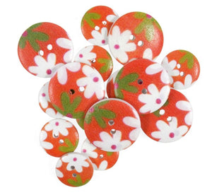Orange Retro Floral Wooden Craft Buttons - Pack of 15 - CFB072 - Button Blue Crafts