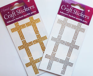Gold 3.5cm Diamante Crosses - 6 Pack Rhinestone Craft Stickers - Button Blue Crafts