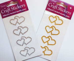 Gold 4.5cm Double Diamante Hearts - 4 Pack Rhinestone Craft Stickers - Button Blue Crafts