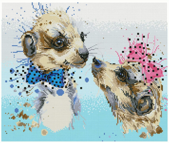 Diamond Dotz - Meerly Love - Meerkats - Large 5d Diamond Crystal Painting Kit 50cm x 42cm