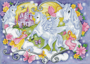 Diamond Dotz - Princess Magic - Unicorns Fantasy - Large 5d Diamond Crystal Painting Kit 66cm x 47cm
