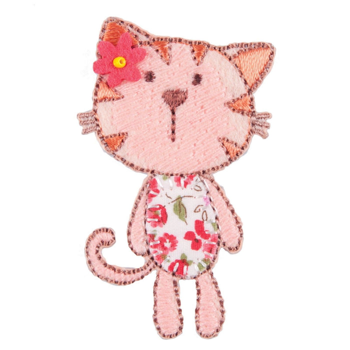 Floral Kitty Cat Motif Iron or Sew On Applique - CFM2/010