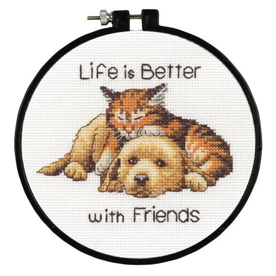 Learn a Craft Counted Cross Stitch Kit - Life Is Better With Friends - Dog & Cat