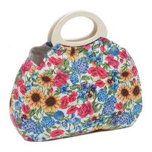 HobbyGift Garden Floral Gathered Knit Bag HGGB/476 - Button Blue Crafts