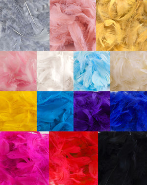 "Yellow 1st Grade Marabou Feathers - Mixed Sizes 3"" - 8"" - Eleganza - Button Blue Crafts"