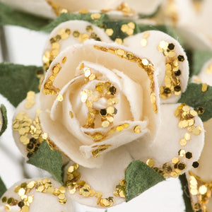 Ivory / Gold Glitter 1.5cm Miniature Paper Tea Roses - Bunch of 12 Stems - Button Blue Crafts