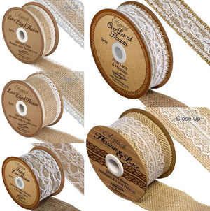 Eleganza 36mm White Lace Edge Hessian Burlap Ribbon - Button Blue Crafts
